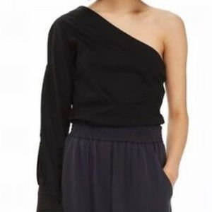 Topshop Black Off One Shoulder blouse shirt M NWT